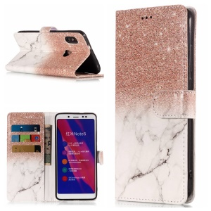 Patterned Leather Wallet Stand Cover for Xiaomi Redmi Note 5 Pro (Dual Camera) / Redmi Note 5 (China) - Glitter Powder and Marble