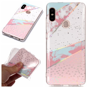 For Xiaomi Redmi Note 5 Pro (Dual Camera) / Redmi Note 5 (China) Marble Pattern Plated IMD TPU Back Accessory Case - White / Pink