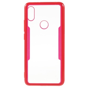 Silicone Edge + Crystal Acrylic Back Hybrid Phone Case Accessory for Xiaomi Redmi S2 / Y2 - Red