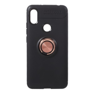 Finger Ring Kickstand TPU Phone Shell for Xiaomi Redmi S2/ Y2 (Built-in Magnetic Metal Sheet) - Black / Rose Gold