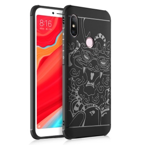 All-wrapped Drop-proof TPU Phone Case Accessory for Xiaomi Redmi S2 / Y2 - Dragon / Black