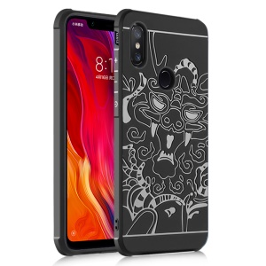 All-wrapped Drop-proof TPU Case for Xiaomi Mi 8 SE (5.88-inch) - Auspicious Dragon Pattern / Black