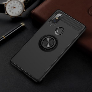 For Xiaomi Mi 8 (6.21-inch) Rotating Ring Kickstand TPU Phone Case (Built-in Magnetic Metal Sheet) - Black