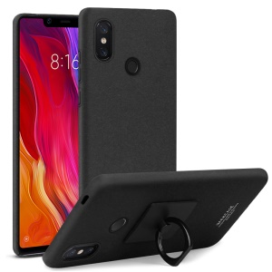 IMAK Ring Holder Kickstand Matte Hard Case + Screen Protector for Xiaomi Mi 8 SE (5.88-inch) - Black