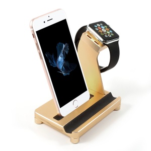 Multi-function Charging Dock Station Apple Watch Charger Holder Stand - Gold
