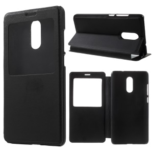 View Window Leather Protective Case for Xiaomi Redmi Pro - Black