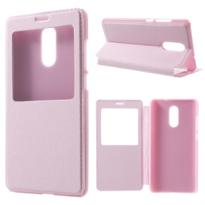 View Window Leather Flip Protective Case for Xiaomi Redmi Pro - Pink