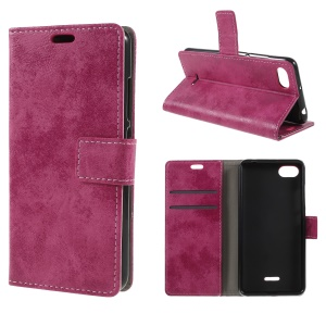 Retro Style PU Leather Stand Wallet Mobile Case for Xiaomi Redmi 6A (Single 12MP Rear Camera) - Rose