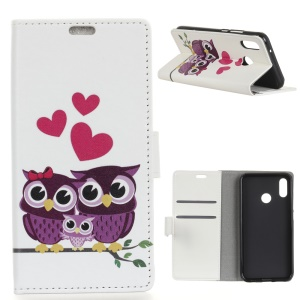 Pattern Printing Leather Wallet Case for Xiaomi Mi A2 Lite / Redmi 6 Pro - Owls and Hearts