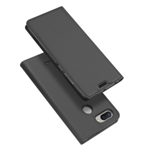 DUX DUCIS Skin Pro Series Card Holder Stand Leather Mobile Case for Xiaomi Redmi 6 - Dark Grey