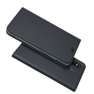 Auto-absorbed Leather Stand Card Holder Cellphone Cover Case for Xiaomi Mi 8 (6.21-inch) - Black