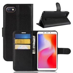 Litchi Texture Leather Wallet Stand Mobile Casing for Xiaomi Redmi 6A (Single 12MP Rear Camera) - Black
