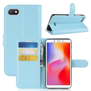 Litchi Texture Leather Wallet Stand Mobile Casing Shell for Xiaomi Redmi 6A (Single 12MP Rear Camera) - Blue