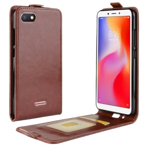 Crazy Horse Vertical Leather Card Holder Cover for Xiaomi Redmi 6A (Single 12MP Rear Camera) - Brown