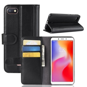 Genuine Split Leather Wallet Stand Phone Cover for Xiaomi Redmi 6A (Single 12MP Rear Camera) - Black