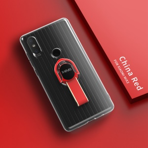 X-LEVEL Finger Ring Kickstand TPU + PC Hybrid Cover Shell for Xiaomi Mi Mix 2s (Built-in Magnetic Metal Sheet) - Red