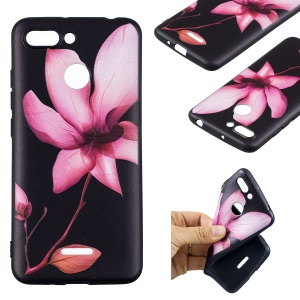 Embossment Patterned TPU Jelly Cellphone Shell for Xiaomi Redmi 6 (Dual Camera: 12MP+5MP) - Pink Flower