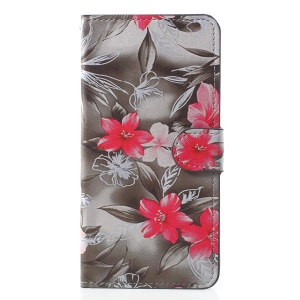 Pattern Printing PU Leather Stand Wallet Mobile Case for Xiaomi Mi 8 (6.21-inch) - Red Flower