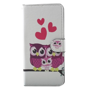 Pattern Printing PU Leather Stand Wallet Phone Accessory Case for Xiaomi Mi 8 (6.21-inch) - Owl Family