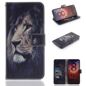 Pattern Printing Leather Wallet Case for Xiaomi Mi 8 (6.21-inch) - Lion Pattern
