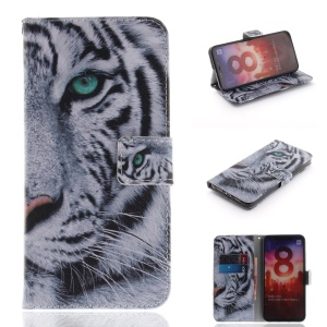 Pattern Printing Leather Wallet Cover for Xiaomi Mi 8 (6.21-inch) - Tiger Pattern
