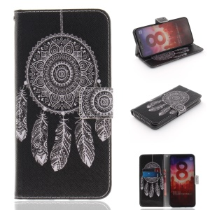 Pattern Printing PU Leather Wallet Case for Xiaomi Mi 8 (6.21-inch) - Feather Dream Catcher