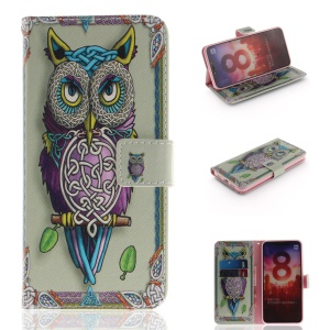 Pattern Printing Cell Phone Leather Wallet Case for Xiaomi Mi 8 (6.21-inch) - Owl Pattern