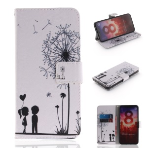 Pattern Printing Wallet Leather Stand Case for Xiaomi Mi 8 (6.21-inch) - Dandelion and Lovers