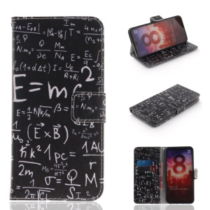 Pattern Printing Wallet Leather Stand Cover for Xiaomi Mi 8 (6.21-inch) - Mathematical Symbol