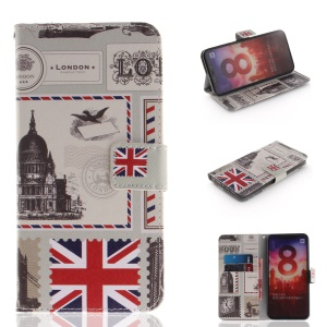 Pattern Printing Mobile Phone Leather Wallet Case for Xiaomi Mi 8 (6.21-inch) - UK Flag