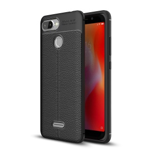 Litchi Texture TPU Mobile Phone Casing for Xiaomi Redmi 6 (Dual Camera: 12MP+5MP) - Black