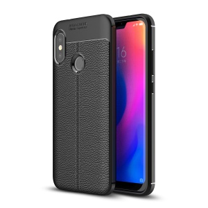 Litchi Texture TPU Mobile Phone Casing for Xiaomi Redmi 6 Pro - Black