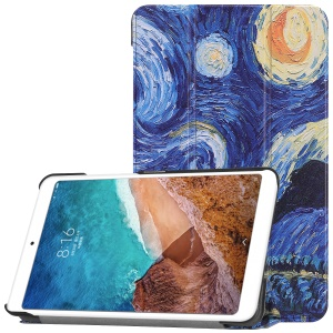 Pattern Printing Smart Tri-fold Leather Stand Cover for Xiaomi Mi Pad 4 - Oil Painting