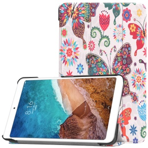 Pattern Printing Smart Tri-fold Leather Stand Shell Case for Xiaomi Mi Pad 4 - Butterfly Flower