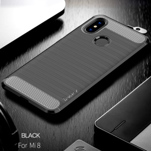 IPAKY Carbon Fiber Texture Brushed TPU Phone Case for Xiaomi Mi 8 (6.21-inch) - Black