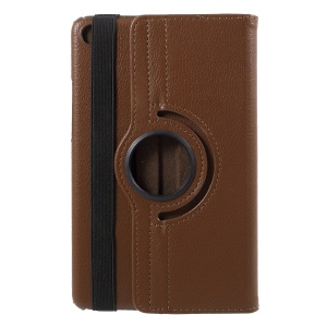 Litchi Grain 360 Degree Rotary Stand Leather Protective Casing for Xiaomi Mi Pad 4 - Brown