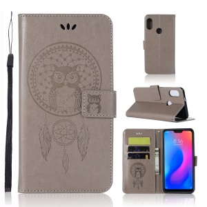 Imprinted Dream Catcher Owl Leather Wallet Cover for Xiaomi Mi A2 Lite / Redmi 6 Pro - Grey