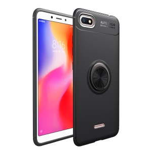 Finger Ring Kickstand TPU Case for Xiaomi Redmi 6A (Built-in Magnetic Metal Sheet) - All Black