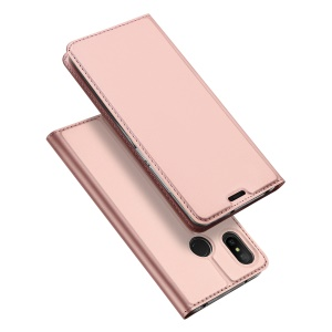 DUX DUCIS Skin Pro Series Card Holder Stand Leather Mobile Cover for Xiaomi Redmi 6 Pro - Rose Gold