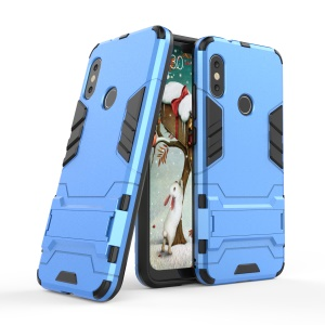 Shockproof PC + TPU Hybrid Kickstand Mobile Cover for Xiaomi Mi A2 Lite / Redmi 6 Pro - Baby Blue