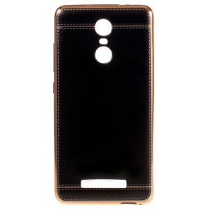 Electroplated Leather Skin TPU Case for Xiaomi Redmi Note 3 / Note 3 Pro - Black