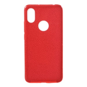 3-in-1 Glittery Powder Paper TPU + PC Hybrid Case for Xiaomi Redmi S2 / Redmi Y2 - Red
