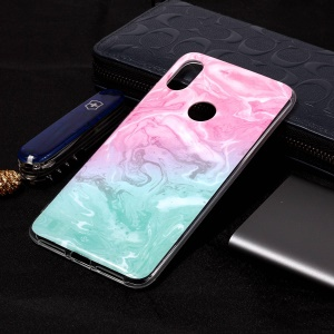 Pattern Printing Marble IMD TPU Phone Cover for Xiaomi Redmi S2 / Redmi Y2 - Pink / Green