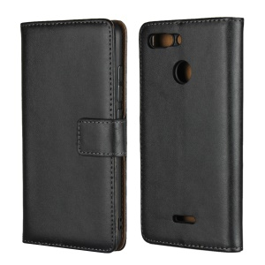 Genuine Leather Wallet Stand Cellphone Cover for Xiaomi Redmi 6 (Dual Camera: 12MP+5MP) - Black