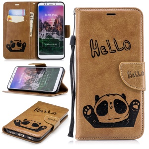 Imprinted Hello Panda Wallet Leather Stand Phone Case for Xiaomi Redmi Note 5 / Redmi 5 Plus - Brown