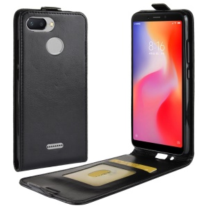Crazy Horse Vertical Flip Leather Phone Casing with Card Holder for Xiaomi Redmi 6 (Dual Camera: 12MP+5MP) - Black