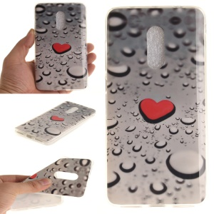 IMD Patterned Soft TPU Cover for Xiaomi Redmi Note 4 - Red Heart and Raindrop