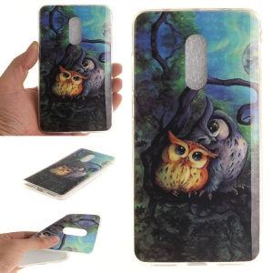 IMD Patterned Soft TPU Gel Back Case  for Xiaomi Redmi Note 4 - Two Owls on Branch