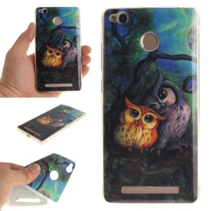 IMD TPU Case Cover for Xiaomi Redmi 3x - Two Owls on Branch Painting