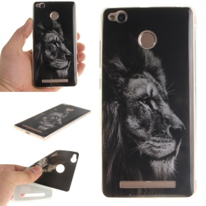 Soft TPU IMD Back Case for Xiaomi Redmi 3x - Grey Lion